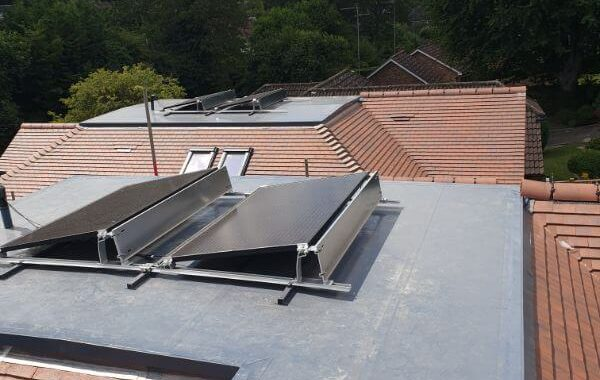 solar panels on top of the roofs