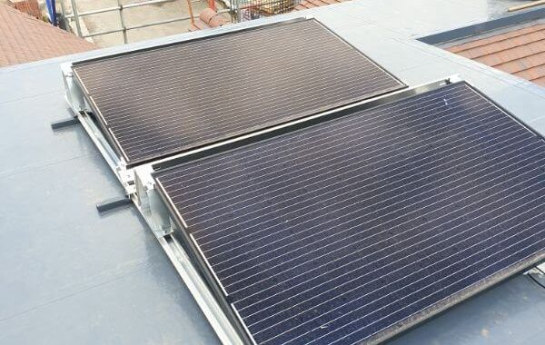 solar panels on top of the roof